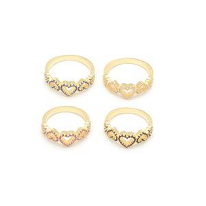 Imagem de Anel corações pedras zircônia - 0104861 Várias Cores