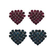 Imagem de Brinco coração de strass - 0516908# Pink e Azul Acqua