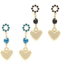 Imagem de Brinco coração com pedra strass - 0507781 Preto e Azul Acqua