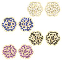 Imagem de Brinco flor cravejado com zircônia - 0516463 Várias Cores