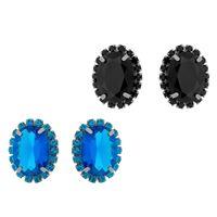Imagem de Brinco fixo pedra oval com strass - 0516986# Azul e Preto