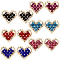Imagem de Brinco fixo coração de pedra strass - 0517058  Várias Cores
