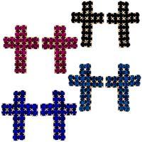 Imagem de Brinco fixo cruz de pedra strass - 0517059 Várias Cores
