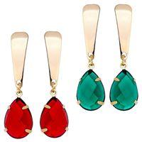 Imagem de Brinco pedra com base chapa - 0516945 Vermelho e Verde