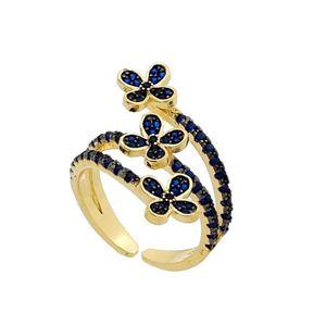 Imagem de Anel flor com pedras zircônia - 0105461 Azul