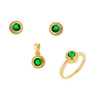 Imagem de Conjunto de pedra zircônia - 1100204 Verde Esmeralda