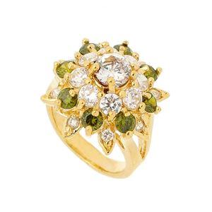 Imagem de Anel flor com pedra zircônia - 0104614 Verde