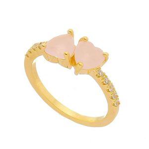 Imagem de Anel pedra coração com zircônia - 0105580 Rosa