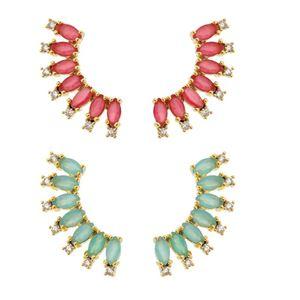 Imagem de Brinco ear cuff com pedra natural - 0517871 Pink e Azul