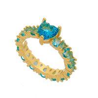 Imagem de Anel com pedra natural coração - 0105574 Azul Turmalina