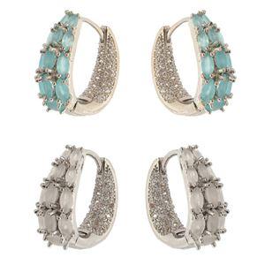 Imagem de Brinco argola click oval com pedras - 0517857* Azul e Branco