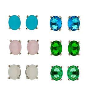 Imagem de Brinco fixo pedra oval natural M - 0517851* Várias Cores