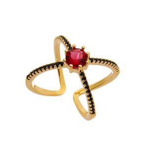 Imagem de Anel X com pedra natural e zircônia - 0105612 Pink e Preto
