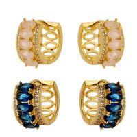 Imagem de Brinco argola click com pedras - 0517924 Rosa e Azul
