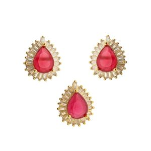 Imagem de Conjunto gota com pedra natural -1100237 Pink