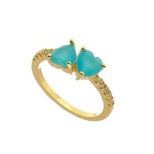 Imagem de Anel pedra coração com zircônia - 0105580 Azul