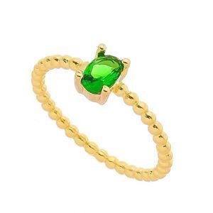 Imagem de Anel com pedra oval natural - 0105585 Verde Esmeralda