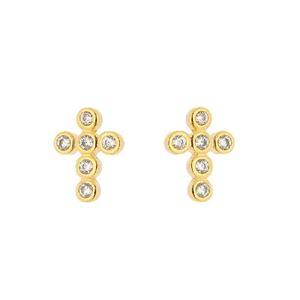 Imagem de Brinco fixo cruz com pedras zircônia - 0517627