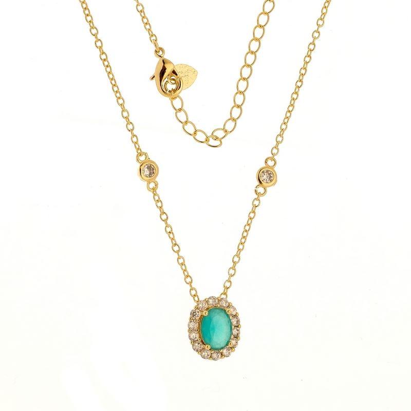 16bf087449504 Status Semi Jóias - 35 anos - Corrente Tiffany com pingente pedra ...