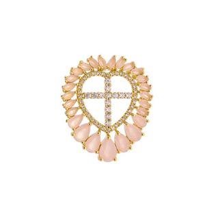 Imagem de Pingente coração com pedras - 0205674 Rosa e Pink