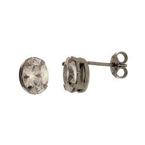 Imagem de Brinco oval pedra 8x6mm zircônia - 0518383#
