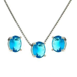Imagem de Conjunto pedra oval natural - 1100276 Azul Turmalina