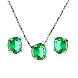 Imagem de Conjunto pedra oval natural - 1100277 Verde Claro Turmalina