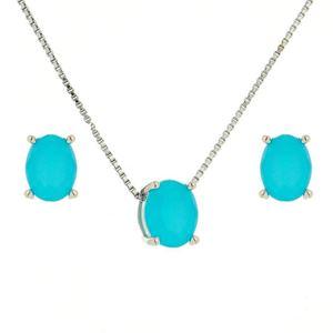 Imagem de Conjunto pedra oval natural - 1100279 Azul