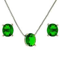 Imagem de Conjunto pedra oval natural - 1100282 Verde Esmeralda