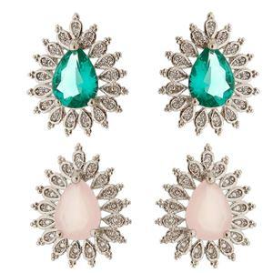 Imagem de Brinco fixo pedra zircônia - 0518618* Rosa e Verde