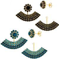 Imagem de Brinco Ear Jacket pedra strass - 0518704 Preto e Azul