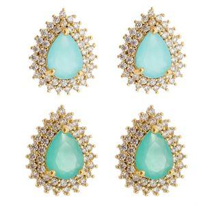 Imagem de Brinco fixo pedra natural e zircônia - 0517473 Azul e Verde