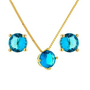 Imagem de Conjunto pedra natural - 1100311 Azul Turmalina