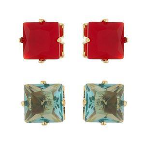 Imagem de Brinco fixo pedra 8x8mm natural - 0518785 Vermelho e Azul