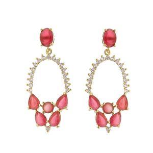Imagem de Brinco com pedra natural e zircônia - 0518905 Pink e Rosa