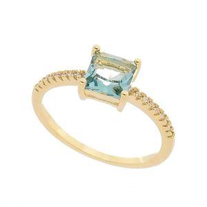 Imagem de Anel com pedra natural e zircônia - 0105798 Azul Turmalina