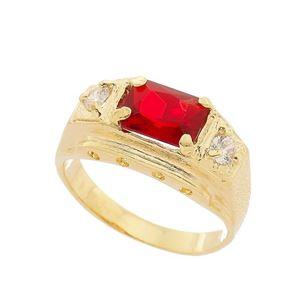 Imagem de Anel masculino com pedra vermelha - 0105784