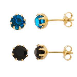 Imagem de Brinco solitário pedra 6mm strass - 0519060 Azul e Preto