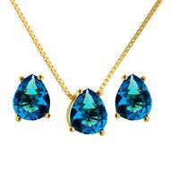 Imagem de Conjunto pedra gota natural - 1100356 Azul Turmalina