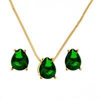 Imagem de Conjunto pedra gota natural - 1100369 Verde Esmeralda