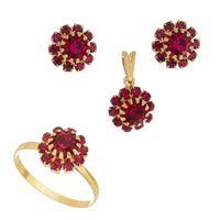 Imagem de Conjunto flor pedras strass - 1100391 Pink