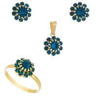 Imagem de Conjunto flor pedras strass - 1100392 Azul Acqua