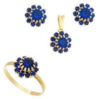 Imagem de Conjunto flor pedras strass - 1100393 Azul Bic