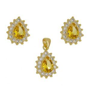 Imagem de Conjunto com pedra gota amarela - 1100410