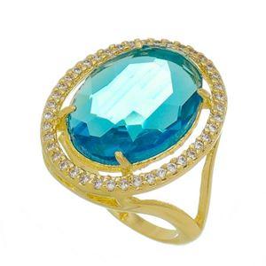 Imagem de Anel com pedra oval natural - 0105900 azul turmalina