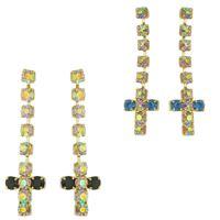Imagem de Brinco cruz com pedras 2mm strass - 0511417 Várias Cores