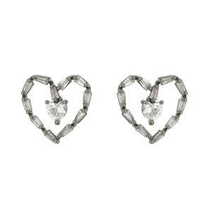 Imagem de Brinco coração com pedra zircônia - 0519570#