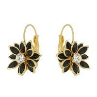 Imagem de Brinco argola flor 12 pedras pretas - 0519072