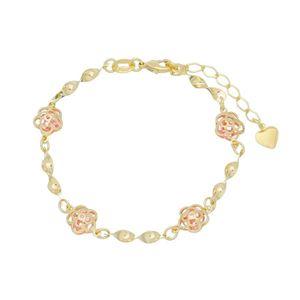 Imagem de Pulseira flor vazada com pedra rosa - 0404476