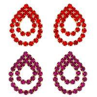 Imagem de Brinco fixo gota de strass - 0511389 Pink e Vermelho